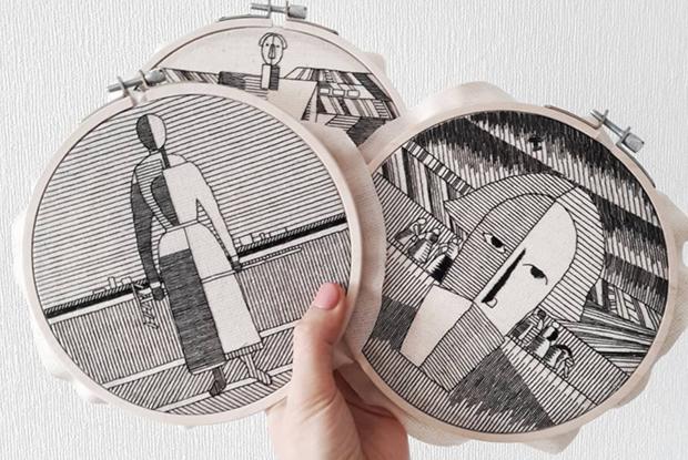 Архитектура и Малевич черными нитками в инстаграме Анны Холоша