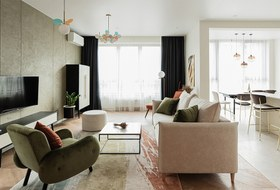 Современная квартира с оливковым гарнитуром на берегу Исети
