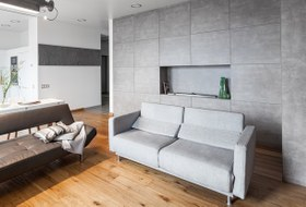 Монохромная квартира-шкаф стайной комнатой