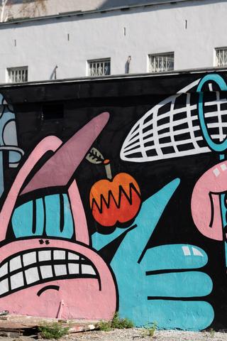 Первая работа «Стенограффии» на месте закрашенного протестного арта