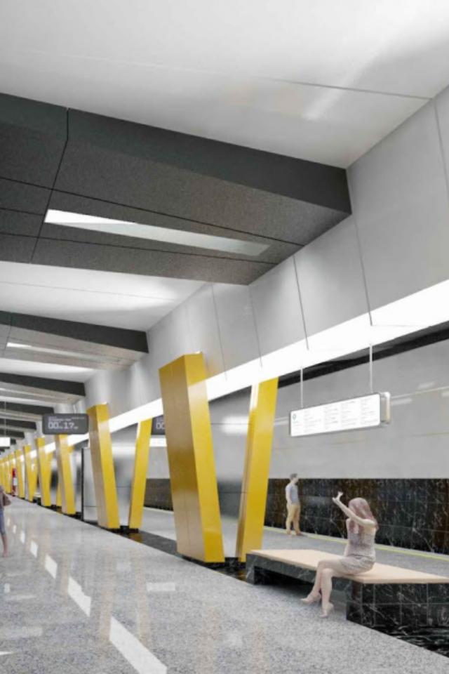 Какой будет станция метро «Улица Строителей» сжелтыми колоннами-галочками