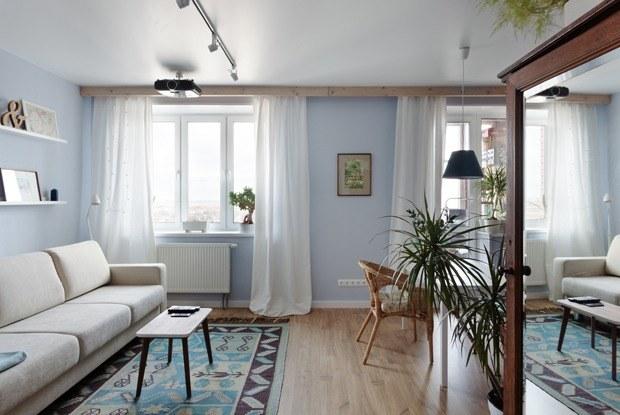 Скандинавская квартира-студия свинтажным шкафом