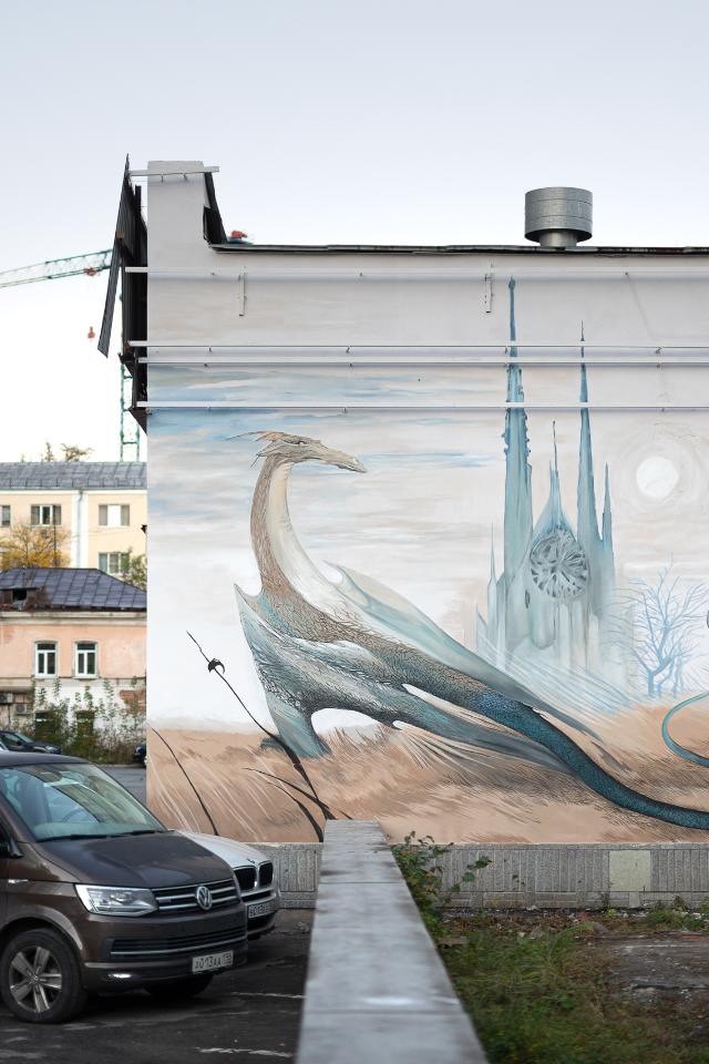 Рисунок иллюстратора мумми-троллей, который перенесли в городское пространство