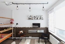 Компактная квартира вДевяткино сбарной стойкой ивинтажными элементами