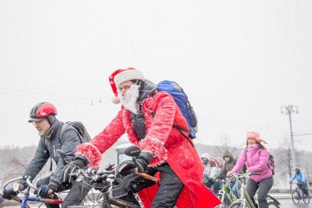 Зимний велопарад в Москве вснимках Instagram